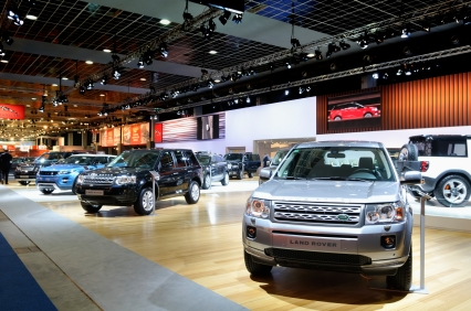 Land Rover stand with the Freeland and Evoque on display during the 2012 Brussels motor show.